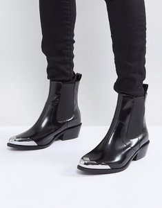 Read more about Asos amberley leather western chelsea boots - black