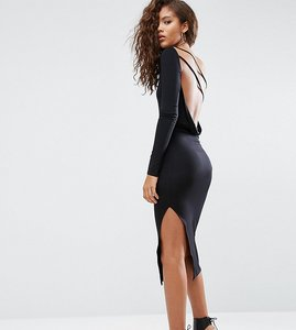 Read more about Asos tall one shoulder cowl back midi dress - black