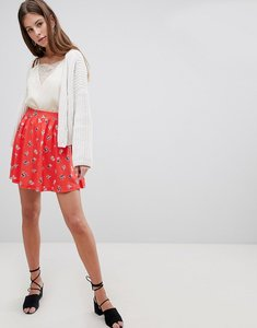 Read more about Asos design mini skater skirt in red floral - multi
