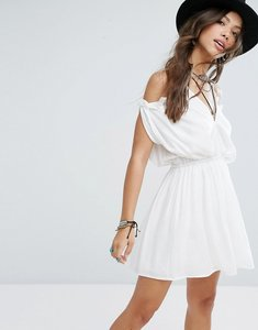 Read more about Glamorous festival cold shoulder dress with ruffle trim - white