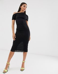 Read more about Asos design pleated shoulder lace midi dress - black