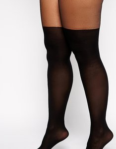 Read more about Asos curve mock over the knee tights with support - black