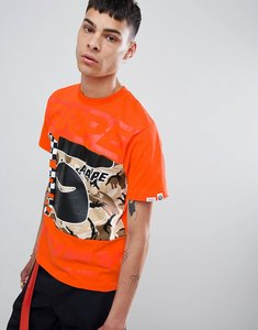 Read more about Aape by a bathing ape camo block panel t-shirt in orange - orange