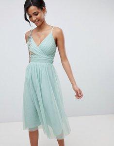 Read more about Little mistress floral applique midi dress - sage green