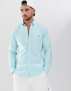 Read more about Polo ralph lauren multi player logo button down oxford shirt slim fit in turquoise blue