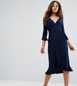 Read more about Asos tall wrap front midi dress with frill detail - navy