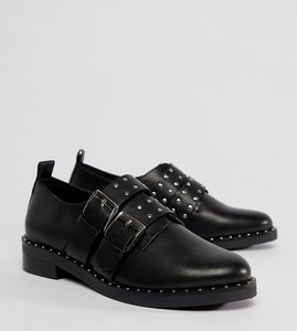 Read more about Asos molten premium leather flat shoes - black