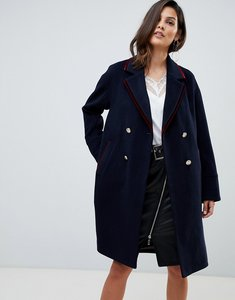 Read more about Morgan military coat with contrast velvet trim detail - navy