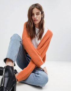 Read more about Asos chunky cardigan in fluffy rib - apricot