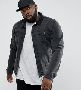 Read more about Asos plus denim jacket in skinny fit in black with cord collar - black