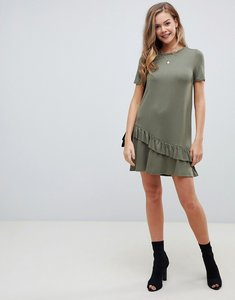 Read more about Asos design mini t-shirt dress with drop ruffle hem - khaki