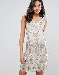 Read more about Frock and frill sequin embellished mini dress - nude silver