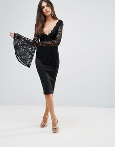 Read more about Club l lace scallop detail midi dress with flute sleeve detail - black
