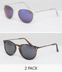 Read more about Asos 2 pack skinny keyhole retro sunglasses clear plain tort - multi