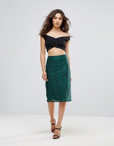 Read more about Rage lace pencil midi skirt - teal lace black line