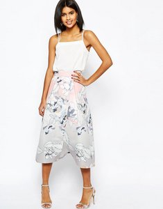 Read more about Asos wrap prom midi skirt in floral print - multi
