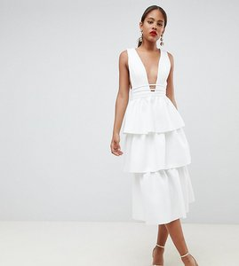 Read more about Asos design tall tiered prom midi dress - ivory