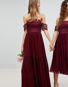 Read more about Asos premium guipure lace panelled maxi dress - wine