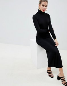 Read more about Asos design high neck rib maxi dress with long sleeves - black