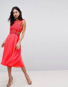 Read more about Asos lace pinafore pleated midi dress - bright coral