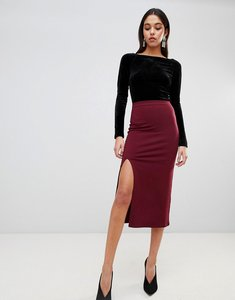 Read more about Asos design midaxi skirt with front split - burgundy