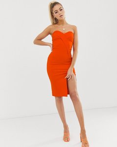 Read more about Vesper bandeau midi dress with thigh split in orange