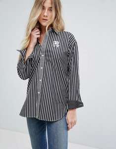 Read more about Polo ralph lauren boyfriend fit striped shirt with crest logo - black white
