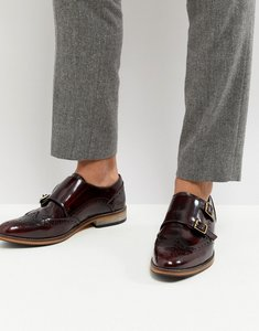 Read more about Asos monk shoes in burgundy leather with natural sole - burgundy