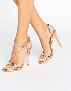 Read more about Public desire angeline cross strap rose gold heeled sandals - rose gold