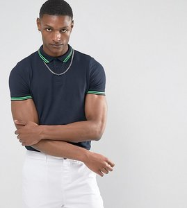 Read more about Asos tipping collar and cuff pique polo shirt in navy - navy spring green