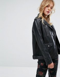 Read more about Monki faux leather biker jacket - black