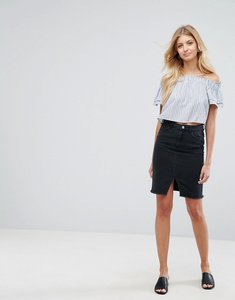 Read more about New look denim pencil skirt - black