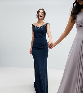 Read more about Maya tall bardot sequin detail maxi dress with bow back detail - navy