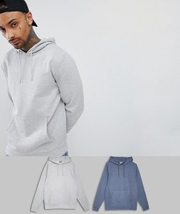Read more about Asos design hoodie 2 pack dark denim marl grey marl - dark denim grey marl