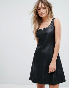 Read more about Mango leather look eyelet detail dress - black