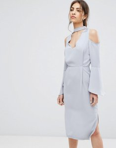 Read more about Neon rose choker plunge neck midi dress - grey
