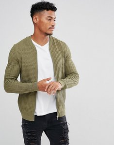 Read more about Asos knitted muscle fit bomber jacket in khaki - khaki