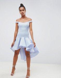 Read more about Asos design premium sculptured ruffle prom dress - blue