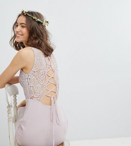 Read more about Tfnc tall lace up back maxi bridesmaid dress - mink