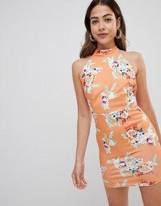 Read more about Missguided printed halterneck dress - orange