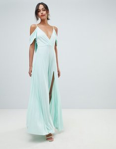 Read more about Asos design cold shoulder cowl back pleated maxi dress - mint