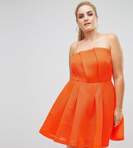 Read more about Asos curve neon bonded mesh fan front mini dress - neon orange