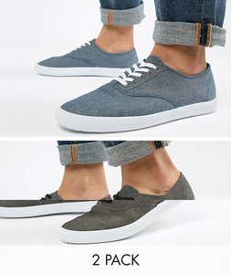 Read more about Asos design plimsolls in black and blue chambray 2 pack save - multi
