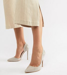 Read more about Glamorous wide fit beige d orsay court shoes - nude patent