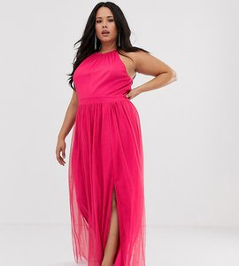 Read more about Little mistress plus gathered neck maxi dress in fuschia