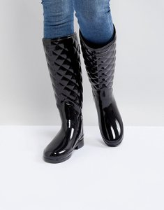 Read more about Hunter original refined gloss quilt tall wellington boots - black