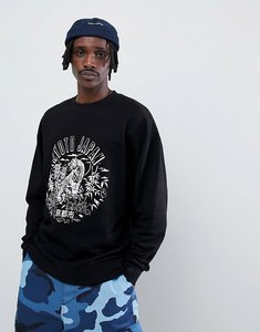 Read more about Asos design oversized sweatshirt with kyoto print in black - black