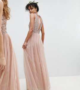 Read more about Maya sleeveless sequin bodice tulle detail maxi bridesmaid dress with cutout back - taupe blush
