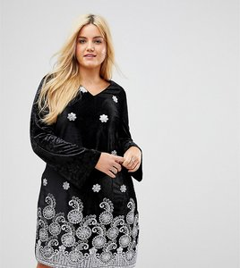 Read more about Alice you long sleeve swing dress in velvet with premium metallic embroidery - black