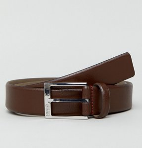 Read more about Hugo logo keeper grain leather belt in brown - 202